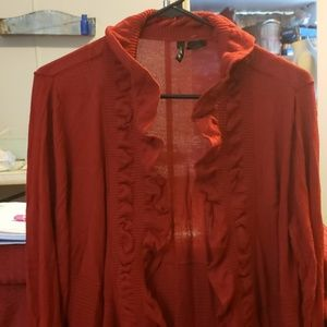 Light weight red ruffled   Collared sweater